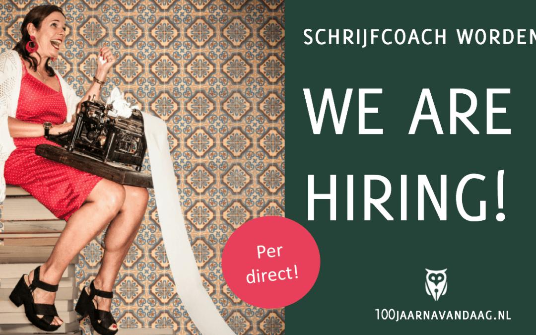 We're hiring! Vacature schrijfcoach levensechte verhalen